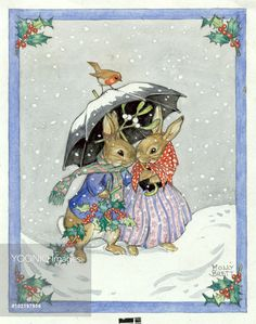Two rabbits shelter from the snow under an umbrella. - Illustration by Molly Brett.