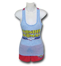 The Wonder Woman Logo Women's Sleep Tank & Shorts Set is a pajama set for ladies who want to bring peace to the world via the magic of fisticuffs! Shop now!