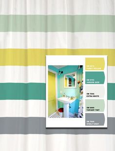 Shower Curtain Vintage Bath Inspired Stripes
