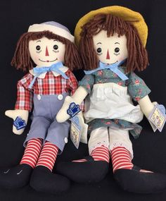 """Raggedy Ann And Andy Reproduction Patent Anniversary Cloth Rag Dolls 18"""" 1995 #Applause #Dolls"""