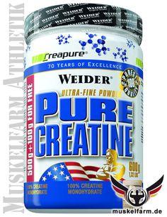 Weider Pure Creatin mit 100% reinem Creapur Creatinmonohydrat, ultrafeines Creatinpulver mit hervorragenden Löslichkeit, hergestellt in Deutschland.