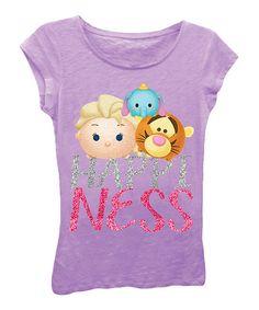 Look at this #zulilyfind! Disney Purple Tsum Tsum 'Happyness' Tee - Girls #zulilyfinds