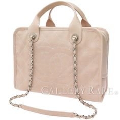 Authentic-CHANEL-Boston-Bag-Handbag-Pink-Beige-Caviar-Skin-Quilting-GR-1833966