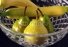 Pears and Bananas in Crystal Fruit Bowl