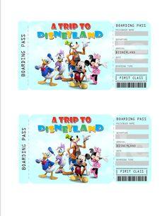 Printable Ticket To Disney DisneyworldDisneyland Boarding Pass - Disney surprise letter template