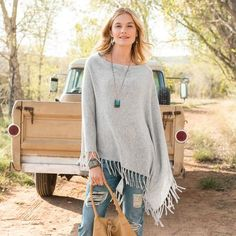 HOMEFIRES CASHMERE PONCHO - A cashmere jersey knit poncho is the ultimate article in luxurious comfort.
