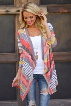 Don't Count Me Out Cardigan - Coral from Closet Candy Boutique
