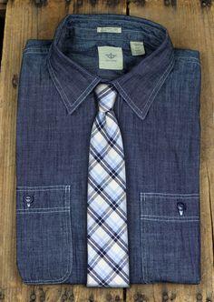 Denim Shirt + Linen Plaid Tie