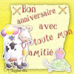 Bon anniversaire, amitié, scrap, vache, tortue, ballons
