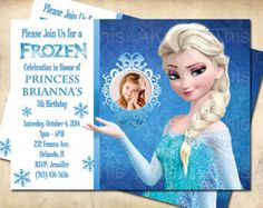 Free Disney Frozen Birthday Invitations ~ Free dyi photo frozen bday invitation templates google search