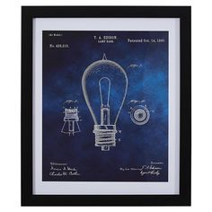 Love this trendy Industrial wall art as it is charming and unique. Black and White Print of 1892 Bulb in Frame, 22 Blue Wall Clocks, Blue Wall Decor, Home Decor Wall Art, Bedroom Decor, Industrial Wall Art, Vintage Industrial Decor, Industrial Bedroom, Industrial Farmhouse, Modern Industrial
