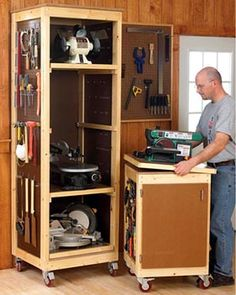 Bench-tool System Woodworking Plan - Product Code DP-00560 | Save valuable space by storing your benchtop tools vertically on trays in a roll-around cabinet. The matching tool base makes a perfect mobile workstation. Build one or more of each.