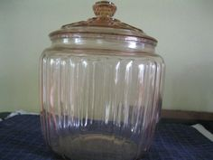 """""""  DEPRESSION PINK """" JEANETTE GLASS """" LG COOKIE JAR w/ COVER """" NICE """""""