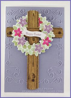 The Hardwood clear-mount stamp brings this old wooden cross back to life. Use spring colors with the Wondrous Wreath stamp and it works for Easter.  DIY card.
