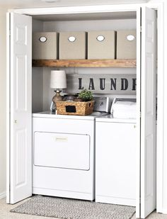 This Laundry Room Makeover transforms this little closet with wasted space into a functional laundry area with just a few simple changes!