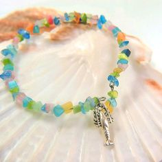 beach chic beaded bangle bracelet beach girl beach bangle beach boho sea life jewelry lobster charm bracelet beach charm bracelet sea gypsy by LovesShellsBeads on Etsy
