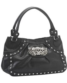 Rock Rebel Matte Black Croc Metal Skulls Tote Bag