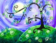 Whimsical Tree on Deco Art Painting Blog. I really like this and I might even be able to do this one.
