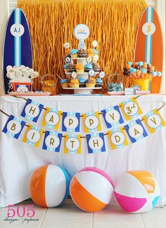 Surfs Up Birthday Party Decorations - Surfer Boy Party Decor by 505 Design Paperie