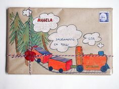 """While I was writing this letter I totally lost my train of thought, so I decided to draw a """"train of thought"""" on the outside"""