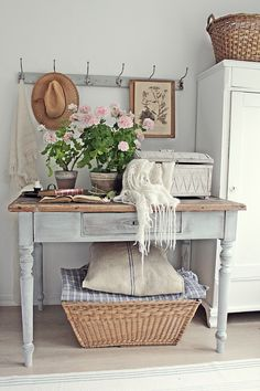 A shabby chic entryway with a wardrobe, a whitewashed console with . chic furniture Shabby Chic Entryway With A Wardrobe Chic Decor, Shabby Chic Entryway, Decor, Chic Home Decor, Shabby Chic Furniture, Cottage Style Interiors, Shabby Chic Homes, Chic Furniture, Retro Home Decor