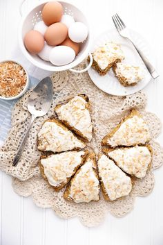 Carrot Cake Scones - Topped with a sinful coconut cream cheese frosting are a perfect weekend breakfast!