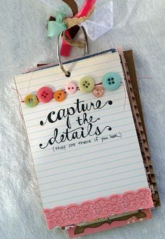 """""""Capture the Details"""" ~ Use Index Cards for Daily Log or Mini Photo Journal ~  Mini Album, Scrapbook, Journal, Travel Journal, SMASH Book, Project Life"""