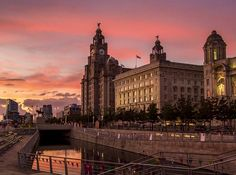 Liverpool Liver Building at Sunset. Liverpool, Louvre, Sunset, Building, Places, Photography, Travel, Red, Sunsets