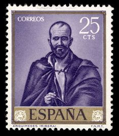 SPAIN  Issued March 24, 1963  Scott Catalog Number 1159  One of a set of ten issued to honor the Spanish painter José de Ribera (1591-1652).    This stamp illustrates a painting of Archimedes completed by Ribera in 1630 and now located in the Museo del Prado (Madrid, Spain).
