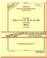 North American Aviation B-25 J1,-5, -10,-15, -20, -25,-30, -35, PBJ-1J - Aircraft Handbook Erection and Maintenance   Manual -  T.O. T.O. 01-60GE-2 , 1944