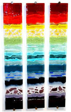 Rainbow Strata triptych glass wall art panels - Glass by Lydia Haines