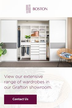Find the perfect wardrobe to suit your style and budget - visit out showroom at 57 Boston Rd, Grafton, or get in touch to speak to our friendly team. Small Walk In Wardrobe, Walk In Closet Design, Wardrobe Design, Perfect Wardrobe, Closet Designs, Bedroom Decor On A Budget, Bedroom Inspo, Bedroom Ideas, Hallway Cupboards