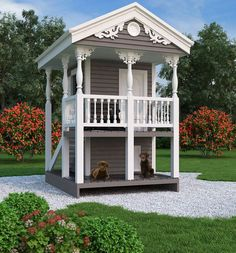 Enjoy this combination playhouse and #doghouse plan from The House Designers! http://www.thehousedesigners.com/plan/luxury-doghouse-playhouse-9590/