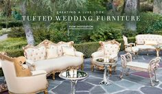 Tufted Wedding Furniture | Photography: Marc Royce Photography. Read More: http://www.insideweddings.com/news/planning-design/how-tufted-furniture-can-give-your-wedding-a-glam-look/2724/