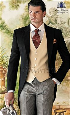 Wedding suit black pure wool (extra satin) tailcoat with morning stripe trouser.