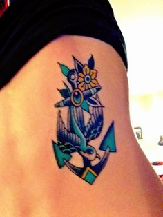 Anchor Swallow Tattoo. Back / Ribs. Love the colors used.  Tweak the design a bit.