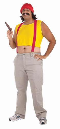 Cheech and Chong, Cheech Costume - Keep out of trouble in this Cheech costume eh? This is a great 5 piece character costume. The guy comes with a Yellow sleeveless shirt that is much to short for the average guy, red suspenders, matching red hat, wig and mustache. Don't forget Chong. Grab a cigar and make this the best Halloween costume yet. #cheech #chong #yyc #costume #entertainer