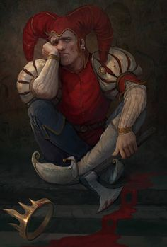 The madness of the jester by Gellihana-art on DeviantArt Medieval Jester, Medieval Fantasy, Dark Fantasy, Character Concept, Character Art, Concept Art, D D Characters, Fantasy Characters, Fantasy Kunst