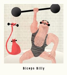 Biceps Billy Marvelous Macho Illustration - Nelleke Verhoeff - Red Cheeks Factory