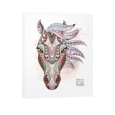 Equestrian Art - Ethnic Horse Head - Vertical Canvas