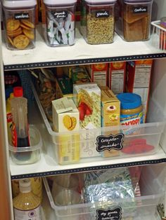 Instead of splurging on a custom pantry with pullout drawers, Courtney labels and strategically groups items to create the same effect on the cheap. Store spices in the door, and use clear canisters to make it easy to tell when food is running low.