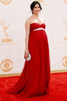 What a beautiful red dress for pregnant Morena Baccarin! #emmys