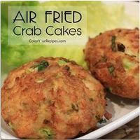 "If you are looking for a healthy recipe for crab cakes, this is the one. This crab cakes taste so good that you will not be able to tell that they were pan ""fried"" in the air fryer. When eating crab cakes I love big chunks of crab Air Fryer Oven Recipes, Air Fryer Dinner Recipes, Air Fryer Recipes Shrimp, Air Fryer Recipes Mexican, Recipes For Airfryer, Air Fryer Recipes Low Carb, Actifry Recipes, Recipes Dinner, Dessert Recipes"