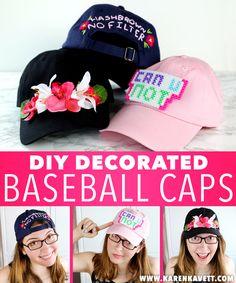 DIY Decorated Baseball Caps 3 Ways! | Karen Kavett
