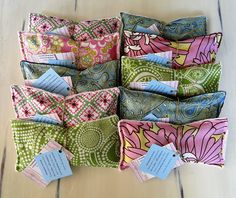 Eye Pillows. Filled with rice and lavender. I bet these are very relaxing to use.