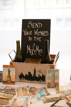 Love this idea for the guestbook! For their NYC reception, this couple used New York postcards from antique stores and local shops as their guestbook. Wish I had thought of this one!