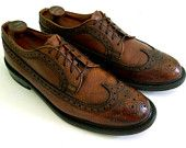 Vintage Men's Mid-Century Chestnut Brown Pebble Grain Longwing Brogue Derbys Dress Shoes -- 10.5 D 10 1/2
