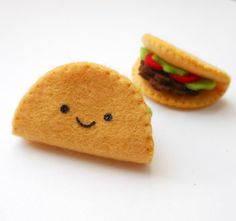 felt Tiny Taco Brooch by Michelle Coffee