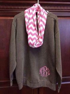LOVE the pink on grey and how the monogram is on the bottom