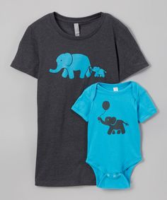 Loving this Brown Elephant Tee & Turquoise Elephant Bodysuit - Infant & Women on #zulily! #zulilyfinds